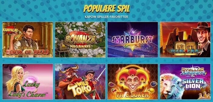 Kapow Casino Spiludvalg