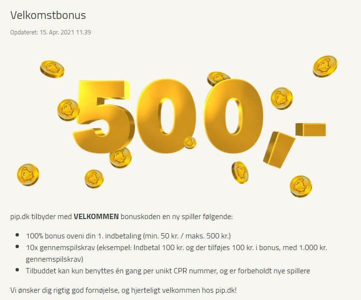 PIP Casino Bonus